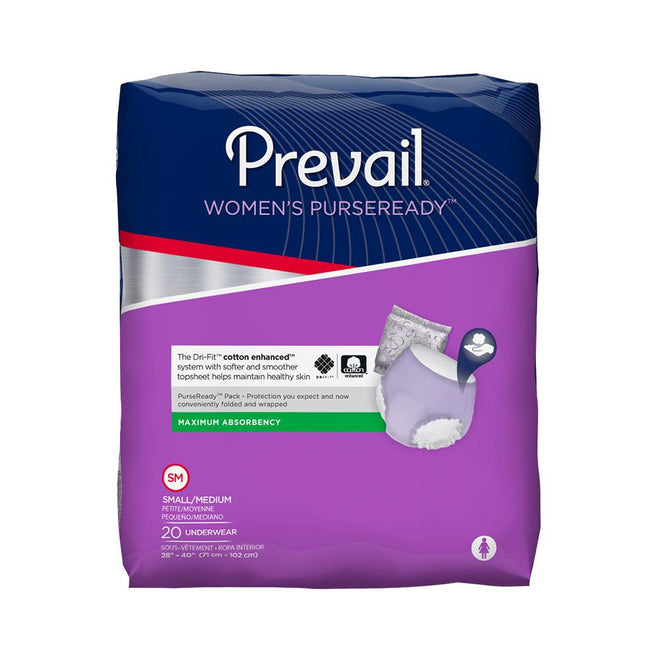 Prevail PurseReady Women's Pull Up Underwear, Moderate absorbency, Individually packaged, Breathable Small/Medium - 20/Pack
