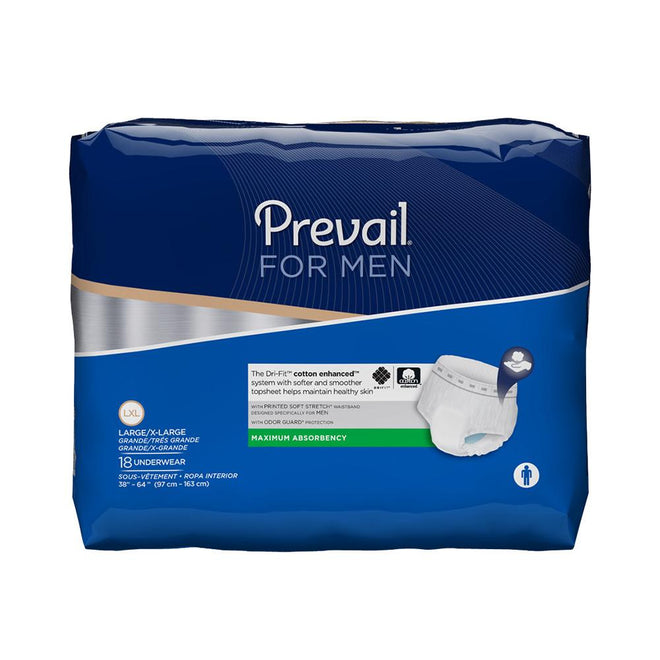 Prevail Men's Pull Up Underwear, Moderate absorbency, Cotton-enhanced, Odor-free Large/X-Large - 18/Pack