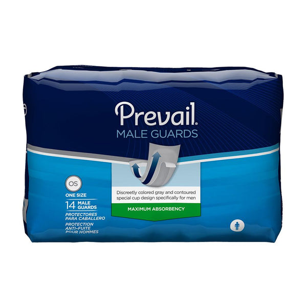 Prevail Men's Incontinence Guards, Light absorbency, Breathable, Secure fit 14/Pack