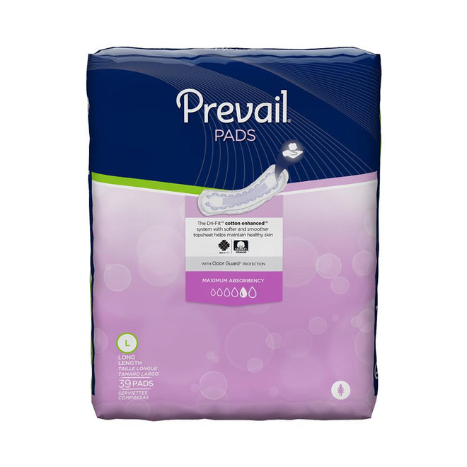 Prevail Maxi Feminine Pad, Maximum absorbency, Individually-wrapped, Secure fit Long - 39/Pack
