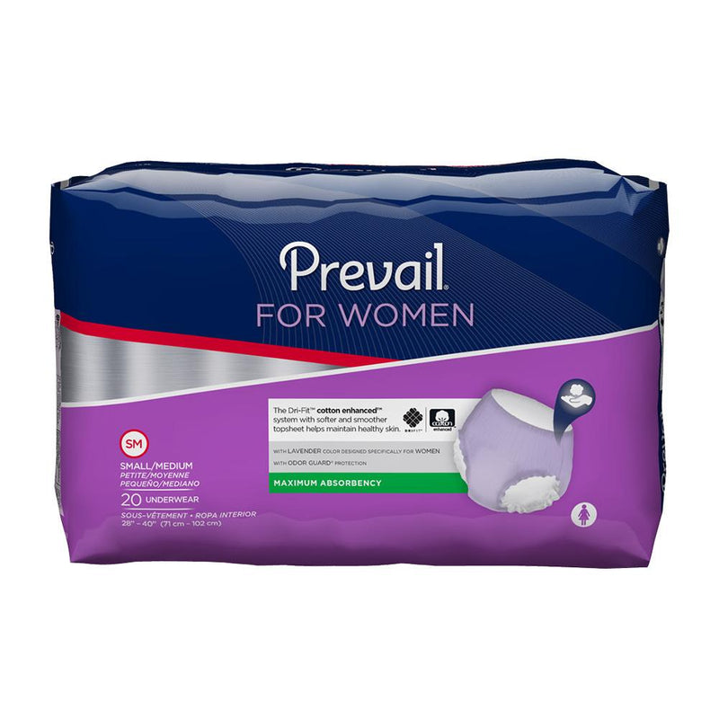 Prevail Women's Dri-Fit Pull Up Underwear, Maximum absorbency, Odor guard, Breathable Small/Medium - 20/Pack