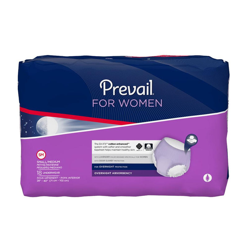 Prevail Women's Overnight Pull Up Underwear, Breathable material, Odor protection, Leak protection  Small/Medium - 18/Pack