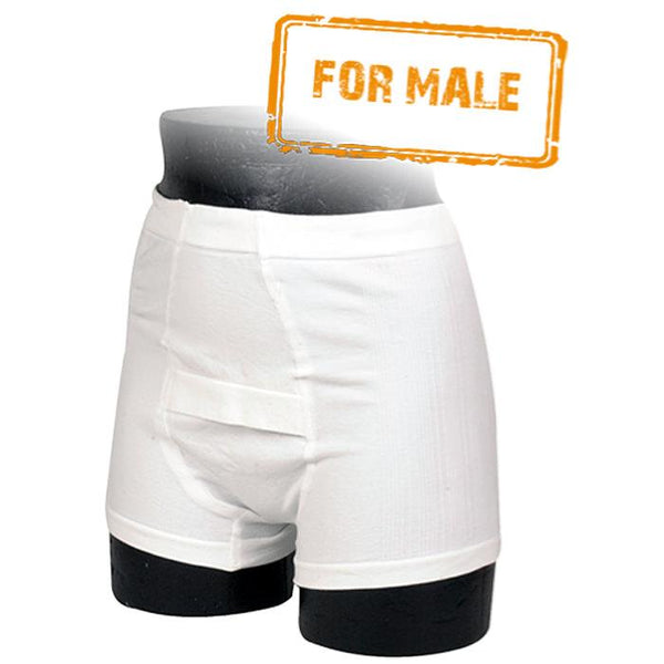 Abri-Fix Men's Soft Cotton Incontinence Boxer, Reusable, Booster insert Medium - 10/Pack