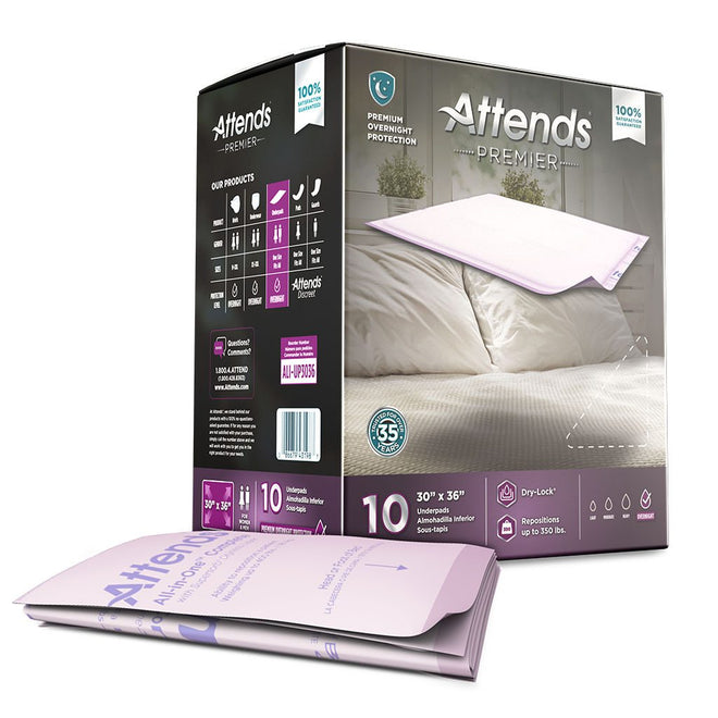 "Attends Premier Underpad, Overnight, Low-airflow mattress protection 30"" x 36"" - 10/Pack"