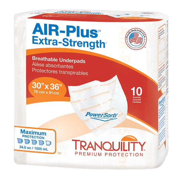 "Tranquility Air-Plus Extra Strength Disposable Underpad, Heavy absorbency 30"" x 36"" - 10/Pack"