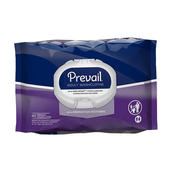 Prevail Quilted Disposable Wipes, Hypoallergenic, Skin moisturizing, Alcohol-free 48/Pack