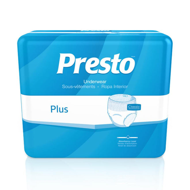 Presto Plus Unisex Incontinence Pullup Underwear, Breathable, Classic fit