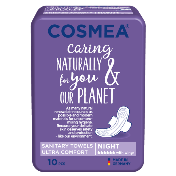 Cosmea ultra sanitary pads with wings, nighttime absorbency, unscented.