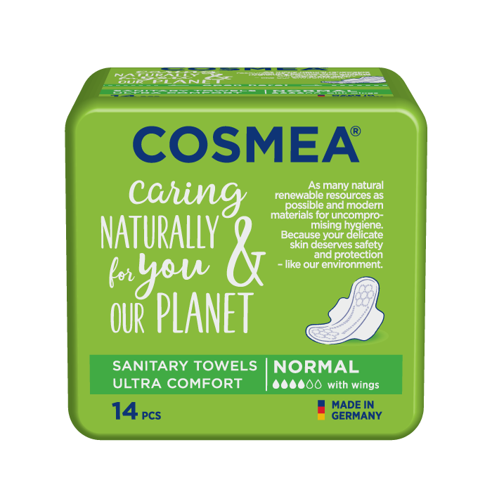Cosmea ultra sanitary pads with wings, regular absorbency, unscented.