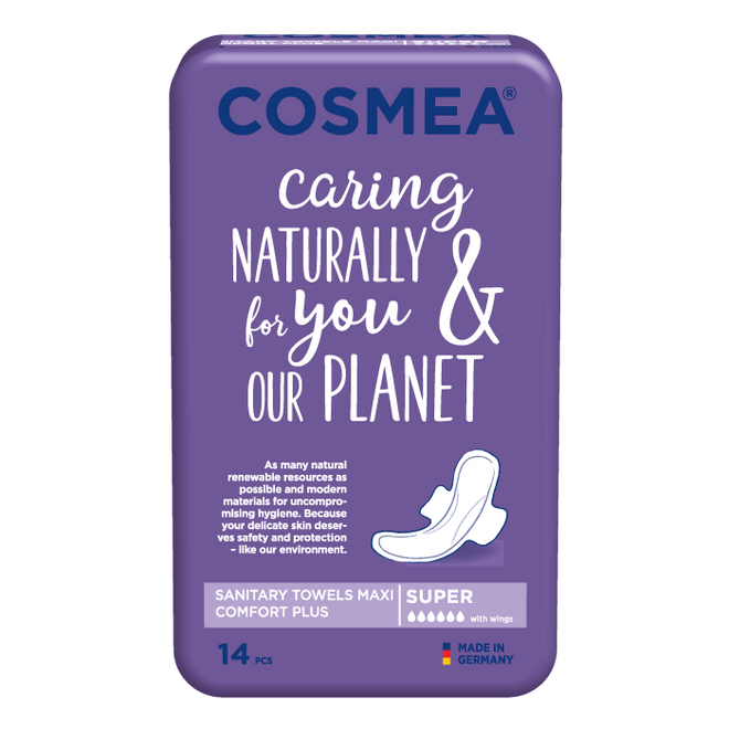 Cosmea maxi sanitary pads with wings, super absorbency, unscented
