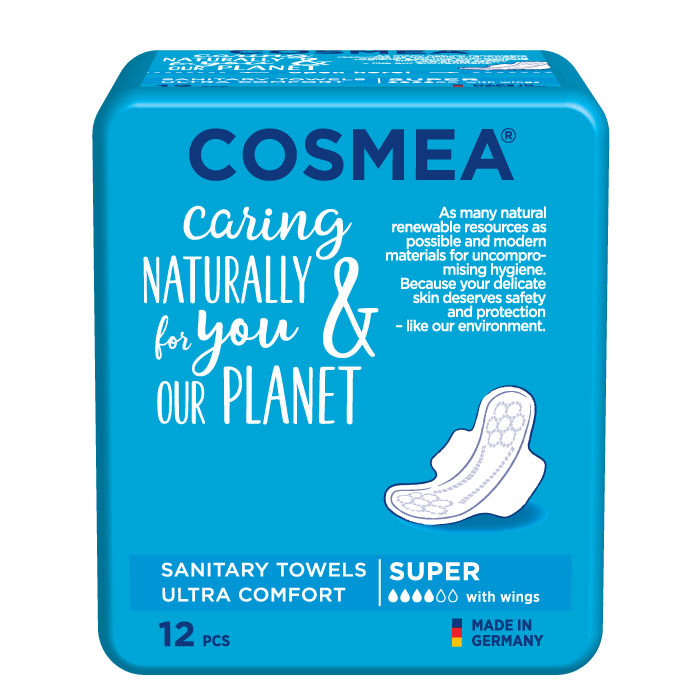 Cosmea ultra sanitary pads with wings, super absorbency, unscented.