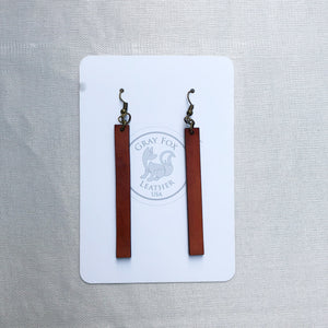 Leather Long Strip Earrings Gray Fox Country