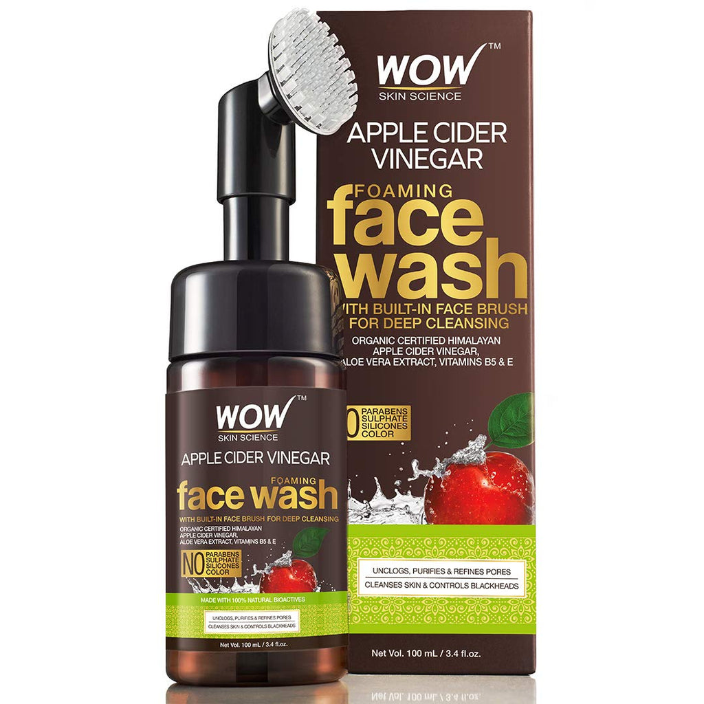 Apple Cider Vinegar Foaming Face Wash - No Parabens, Sulphate and Silicones (With Built-In Brush), 100 ml