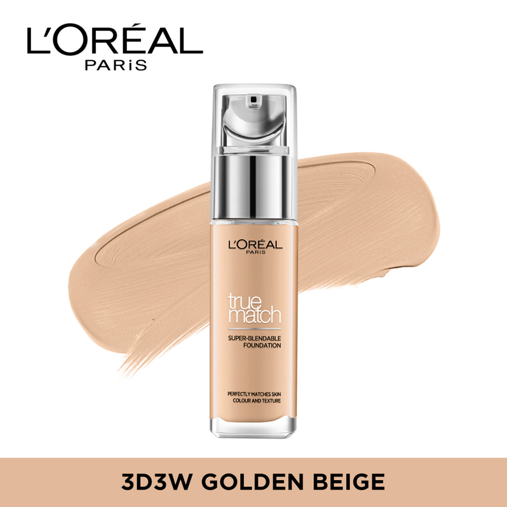 True Match Super Blendable Liquid Foundation Golden Beige 3D3W, 30ml