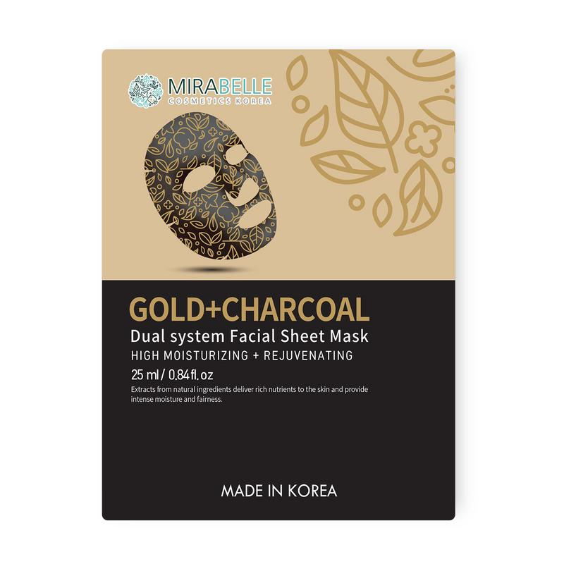 GOLD + CHARCOAL DUAL SYSTEM FACIAL SHEET MASK