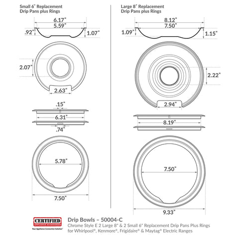 Style E/Type D drip pan plus ring dimensions