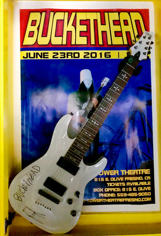 BUCKETHEAD Signed Guitar & Original Event poster