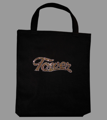 Gold Rhinestone Tower Tote Bag