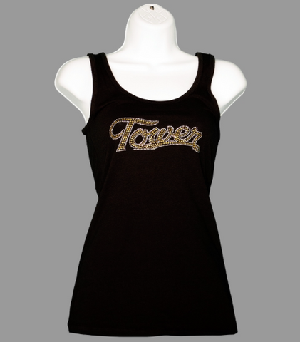 Black Tank Top with Rhinestones