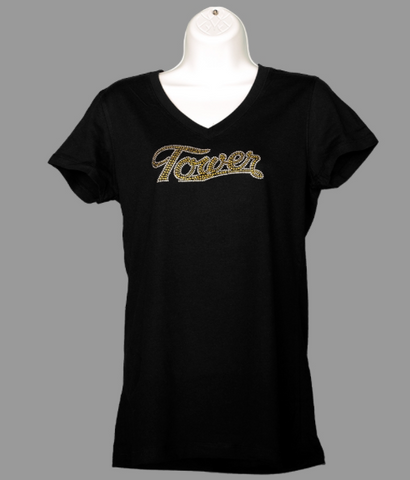 Ladies Black V-Neck Rhinestone T-Shirt
