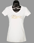 Ladies White Backstage Vintage Jersey T-Shirt