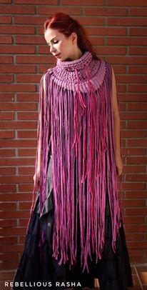 Fancina Salvaje Tribal Long Poncho In Purple Shades