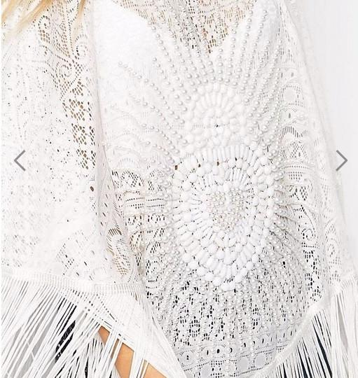 Beautiful Embellished with pearls & fringes Poncho Kimono