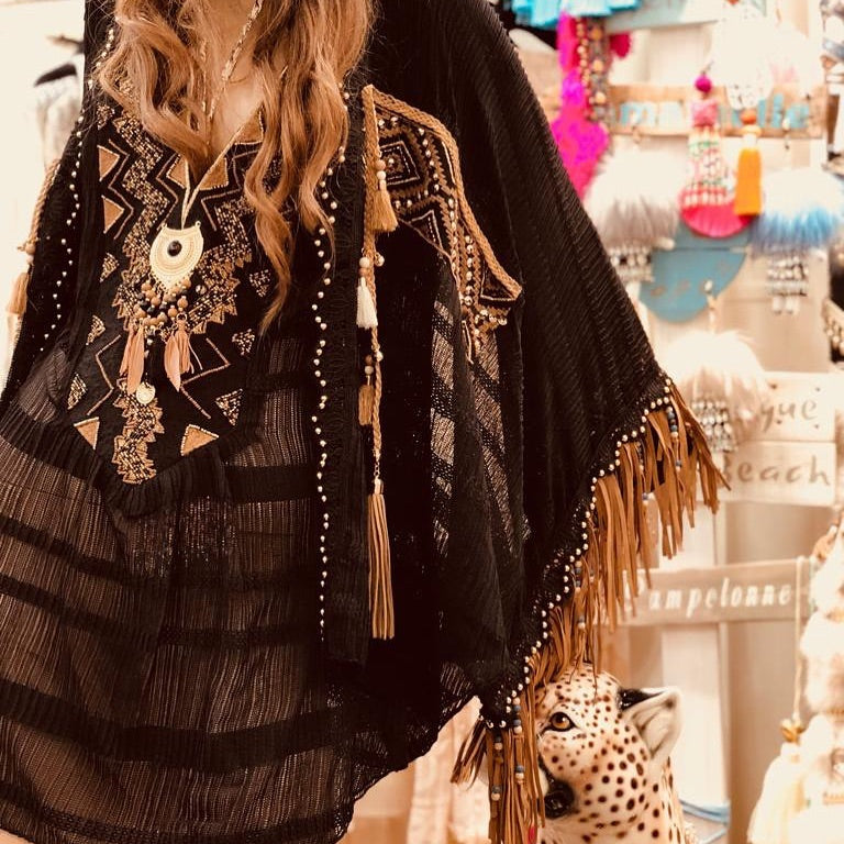 Laurie & Joe Black Poncho with Camel Suede Fringe