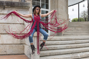 Fancina Salvaje Burgundy Tribal Top with Long Fringes