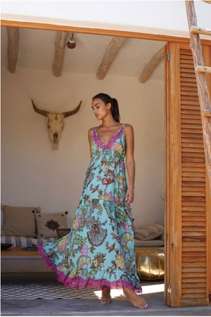 Miss June Print Maxi Dress Happiness