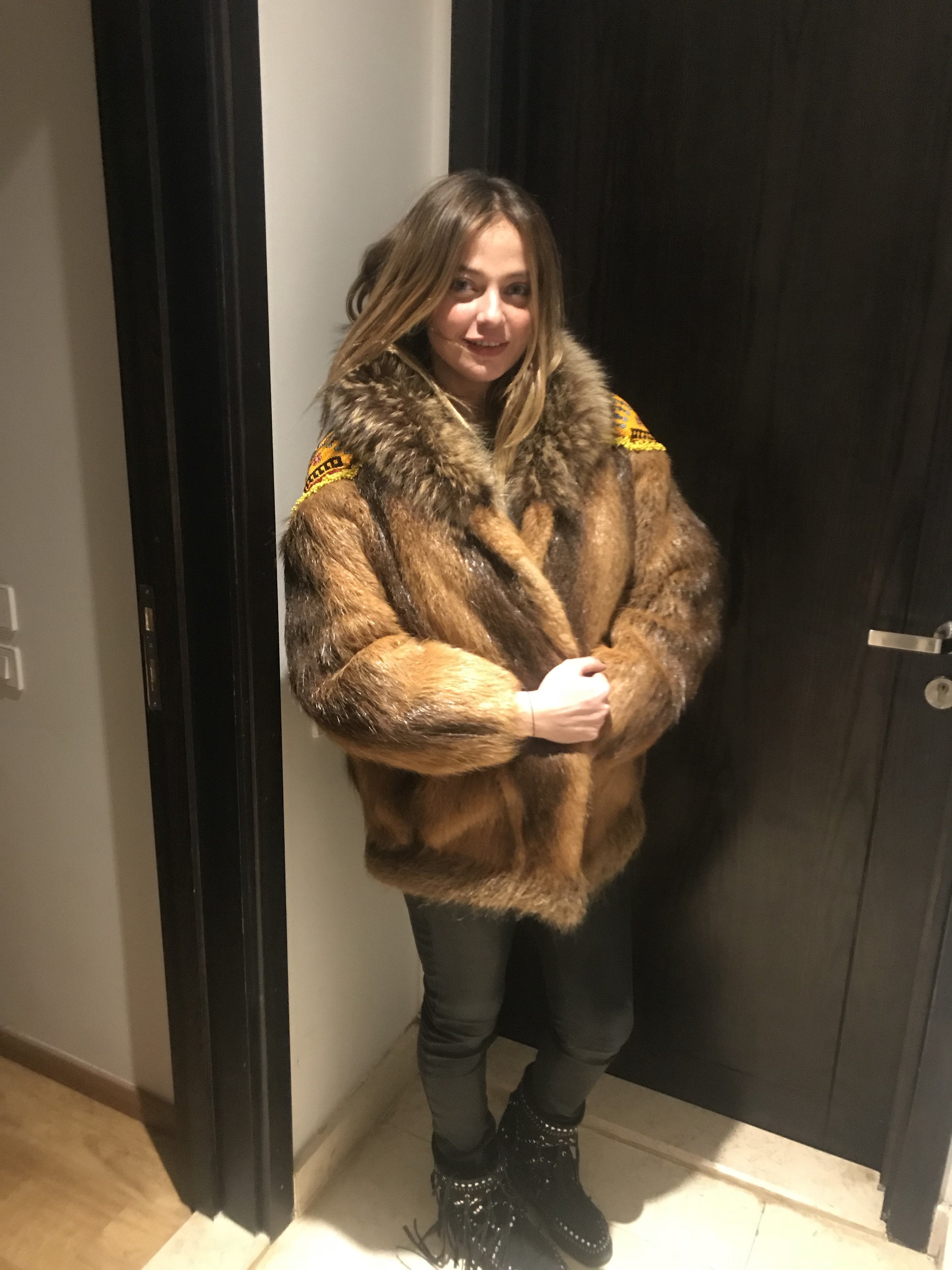 Rebellious Rasha Raccoon Customized Vintage Real Fur