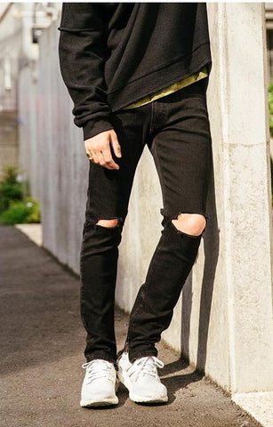 Ankle Zipper Ripped Jeans
