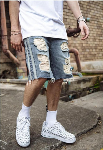 Retro Ripped Denim Shorts