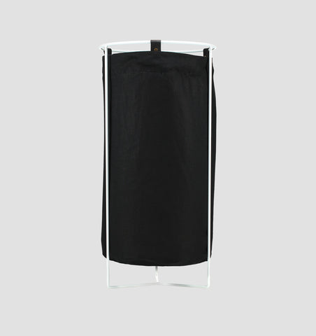 White Frame Laundry Basket - Black Linen