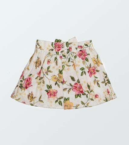 Floral Linen Bow Diddly Skirt