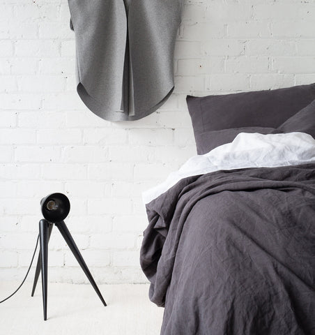Linen Throw — Charcoal
