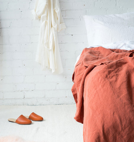 Linen Throw — Rust
