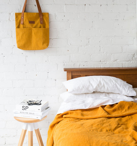 Linen Throw — Tumeric