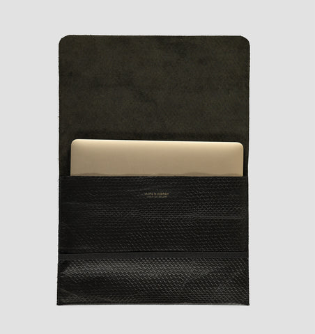 Black Snake Leather Laptop Cover 12 inch