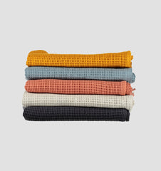 Cotton Waffle Towels - Charcoal