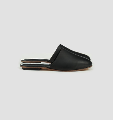 Nico Leather Slides In Black