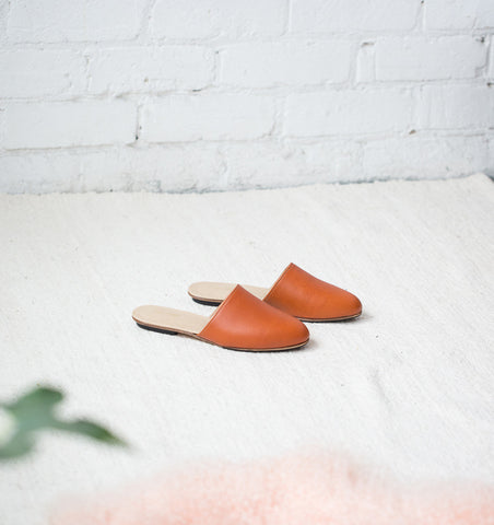 Nico Leather Slides in Rust