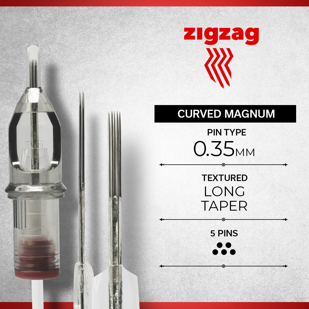 ZIGZAG - CURVED MAGNUM TEXTURED, Needles, - Inktrek