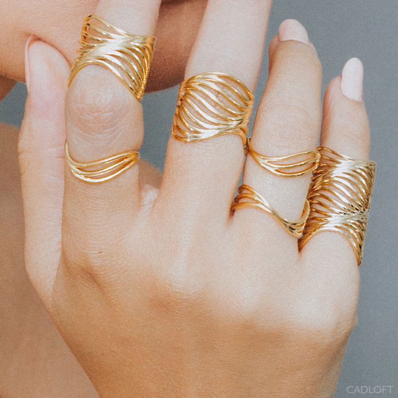 18K Yellow Gold Luxury 3D Printed Water Wave Rings Styled on Hand