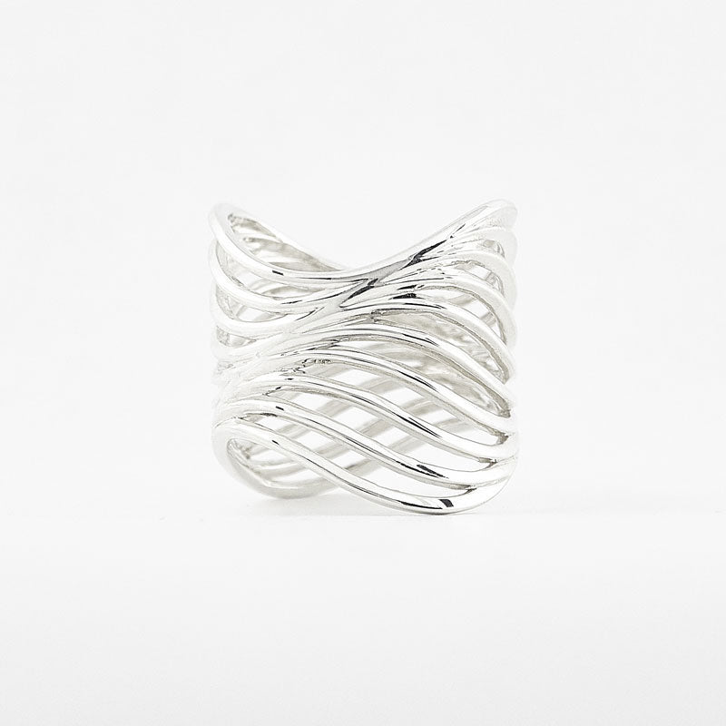 Sterling Silver Fine Jewelry Ring - 3D Printed Wave Ring