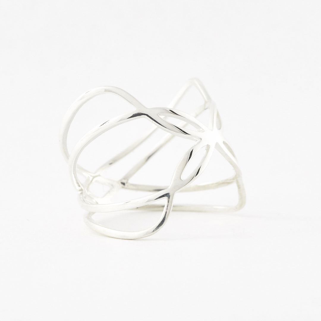 Side profile view of a 925 sterling silver 3D printed jewelry Boss Butterfly Ring