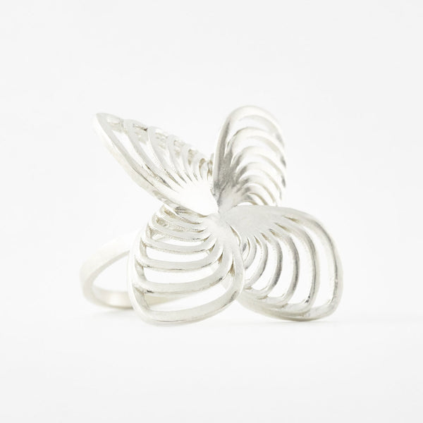 925 sterling silver 3D printed Positive Vibes Butterfly Ring