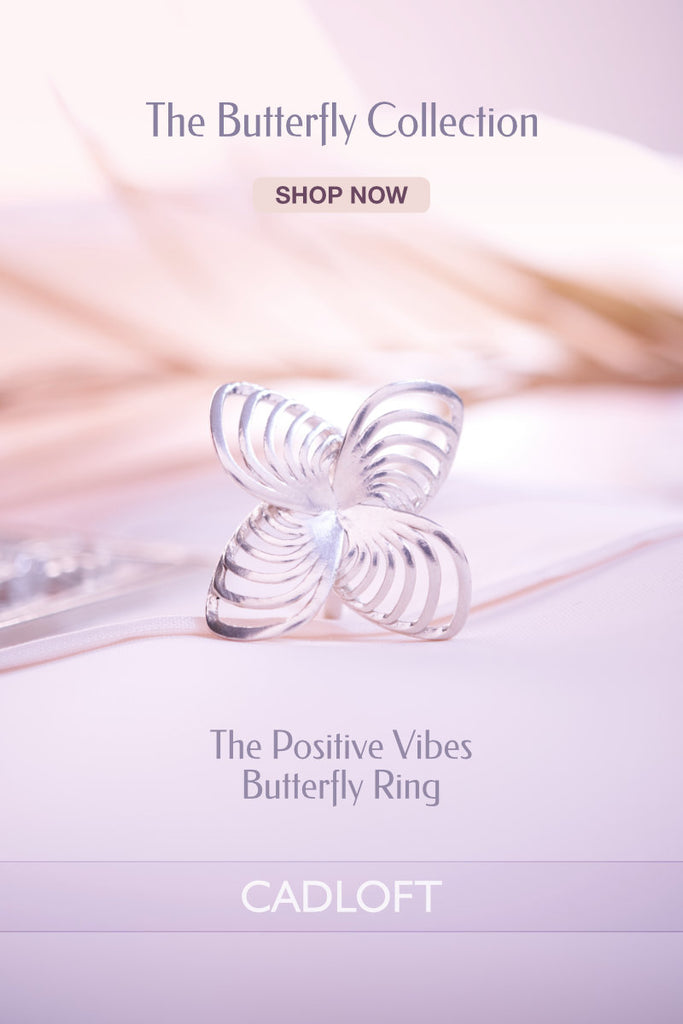 The Positive Vibes Butterfly Ring | 3D Printed Jewellery Gifts | 3D Printing Fashion