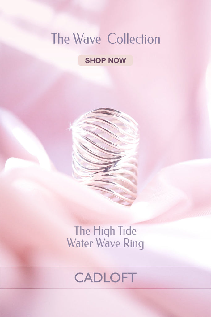 High Tide Water Wave Ring | 3D Printed Jewellery Gift for Her | 3D Printing Fashion