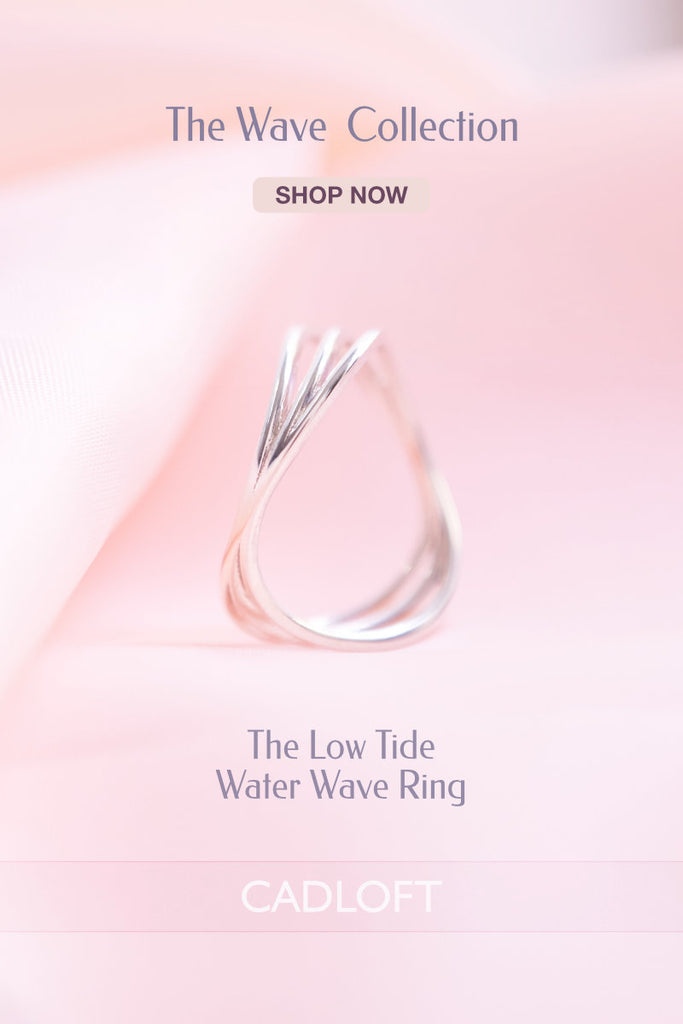Low Tide Water Wave Ring | 3D Printed Jewellery Gift for Her | 3D Printing Fashion